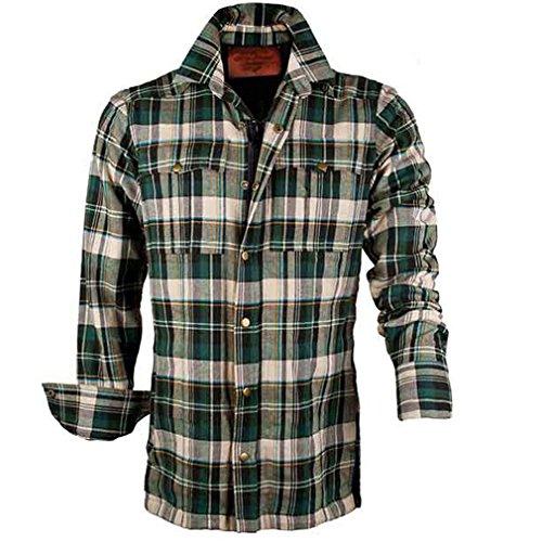 King Kerosin Herren Langarm Kevlar Biker Hemd Holzfällerhemd - Check Woodcutter Shirt Grün-Creme bis 3XL (XL)