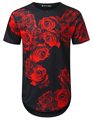 URBANTOPS Mens Hipster Hip Hop Red Rose Floral Longline T-Shirt Black, M