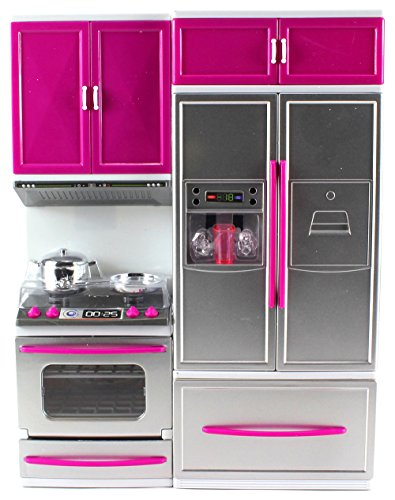 My Modern Kitchen Oven Refrigerator Battery Operated Toy Doll Kitchen Playset w/ Lights, Sounds, Perfect for Use with 11-12' Tall Dolls