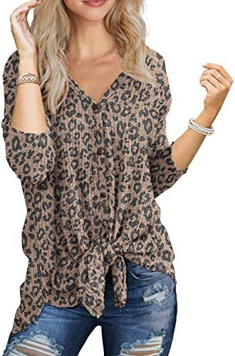 IWOLLENCE Womens Loose Henley Blouse Bat Wing Long Sleeve Button Down T Shirts Tie Front Knot product image