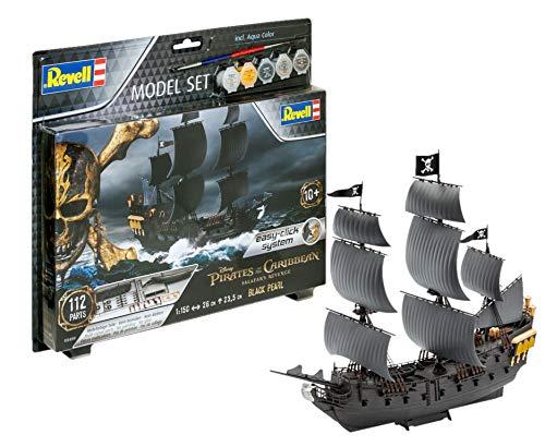 Revell REV-65499 65499-Modellbausatz Schiff 65499 Set 1:150-Piratenschiff Black Pearl im Maßstab 1:150, Level 3, Orginalgetreue Nachbildung mit vielen Details, Segelschiff, Fluch Der Karibik