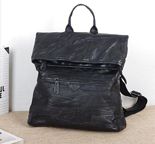 FEN Sacs à main de mode créative occasionnels doux cousu à la main sac à bandoulière noir