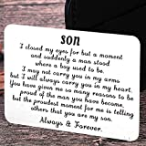 Mom Dad To My Son Valentine Wallet Card Inserts Graduation Gifts for Son from Mothers Fathers Day Christmas Inspirational Sweet 16th Birthday Love Note For Him Teens Adult Men Teenage boys Gifts