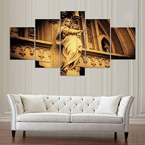 lkfqjd Sin Marco Modern Home Wall Art Decor5 Panel Virgen María con Bebé Fotos Arte HD Impreso Pintura Al Óleo sobre Lienzo Cartel Obras De Arte
