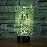 Regalos para los hombres Virgen María forma LED 3D noche luz USB lámpara de mesa 7 color cambiante bebé sueño iluminación decoración del hogar regalo vacaciones erjie