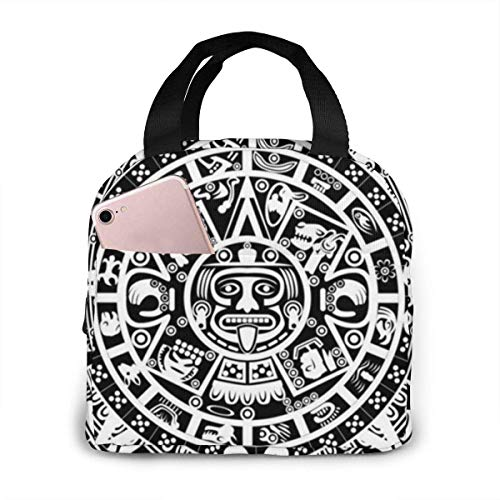Mayan Calendar End of The World Printed Insulated Lunch Bag for Women Capacity,Reusable Waterproof Cooler Bag Lunch Box for Teens Girls School Travel Picnic