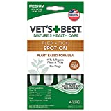 Vet's Best Flea and Tick Spot-on Drops | Topical Flea Treatment Drops for Dogs | Flea Killer with Certified Natural Oils | 4 Month Supply for Medium Dogs