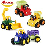 HISTOYE Toddler Toy Trucks for 1 2 3+ Year Old Boys, Friction Powered Cars for Babies, Construction Toys Set of 4 Dump Truck Toy, Tractor Toys, Bulldozer, Cement Mixer Truck, Preschool Gifts for Girls