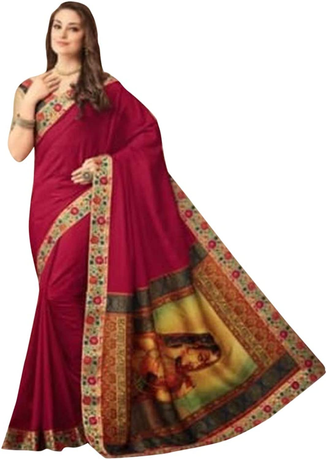 Magenta Stylish Indian Burmese Silk Saree with Blouse Designer Sari for Women Party Festive wear 7537