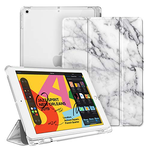 Fintie Case with Pencil Holder for iPad 7th Generation 10.2 Inch 2019 - Slim Shell Lightweight Cover with Translucent Frosted Stand Hard Back, Supports Auto Wake/Sleep for iPad 10.2', Marble