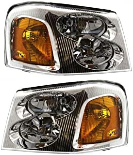 Headlight Assembly Compatible with 2002-2009 GMC Envoy Halogen Passenger and Driver Side