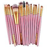 LELEGO 15 brochas de maquillaje Set de sombra de ojos Fundación Polvo Delineador de ojos Pestañas Labio Maquillaje Pincel Cosmético Kit de herramientas de belleza (Rosa-1#)