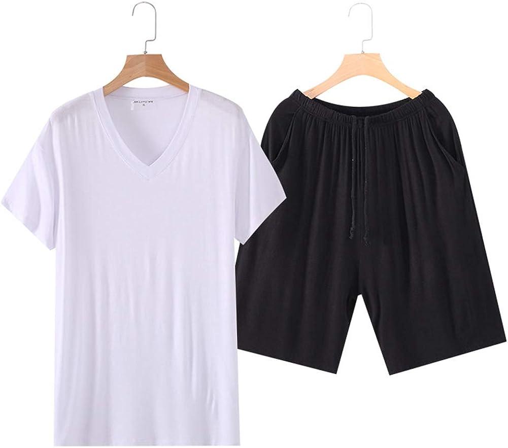 Rojeam Mens Pajamas Set Short Sleeve Top Shorts Sleepwear Lounge Set