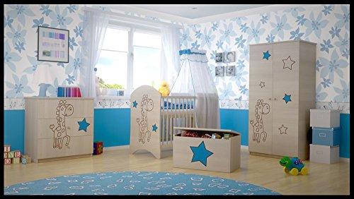 hogartrend Set mobili da Bebè con Incisione Giraffa Azzurra