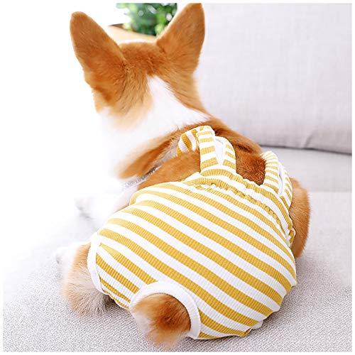 Hmpet Pañales para Perros, Pantalones Sanitarios para Mascotas pañales para Perros pañales Lavables y Reutilizables para Cachorros, Pantalones con Tirantes menstruales Ropa Interior,Amarillo,XS