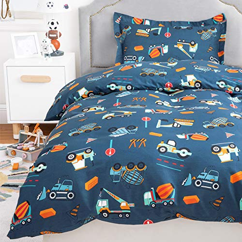 Bedsure Duvet Cover Set Cot Bed - Diggers, Trucks & Cranes Bedding Single Bed 135x200cm with 1 Pillow Cover 50x75cm for Girls and Boys Microfiber Polyester Bedding Sets