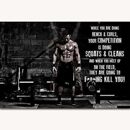 Kying Crossfit Games Rich Jr Bodybuilding Gym Cita Motivacional Posters Art Canvas Home Room Wall Art Decor -50x75CM Sin Marco