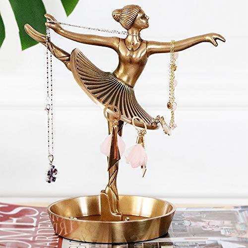 Bailarina creativa Soporte de exhibición de joyas de cobre puro, exquisito Pantalla de joyería hecha a mano, interior Decoraciones de arte en casa