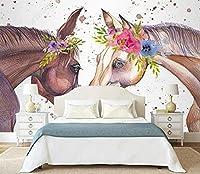 壁の壁画 壁紙 ウォールカバー 水彩花カップル馬 壁画 壁紙 ベッドルーム リビングルーム ソファ テレビ 背景 壁 壁面装飾のための,150x105cm