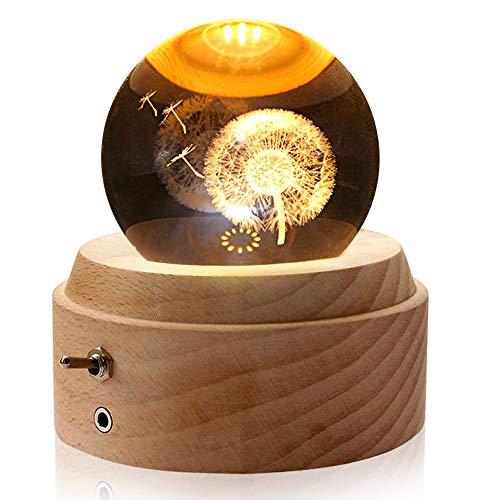 Aoweika Caja de música, bola de cristal 3D con función de proyección de luz cálida, bola de cristal giratoria K9 con base de madera de haya de alta calidad para regalo de cumpleaños, día de la