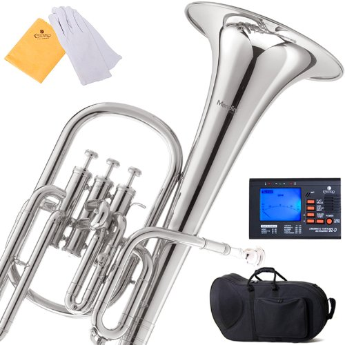 Mendini E Flat Alto Horn with Stainless Steel Pistons (Nickel)