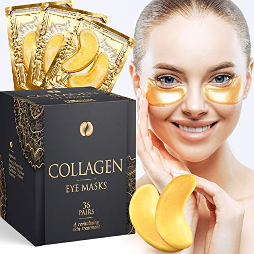 Collagen Under Eye Masks (36 pairs), Gold Under Eye Patches (Reduce Puffiness and Wrinkles), Dark Circles Under Eye Treatment, Eye Masks for Dark Circles and Puffiness,  Hydrating Under Eye Mask