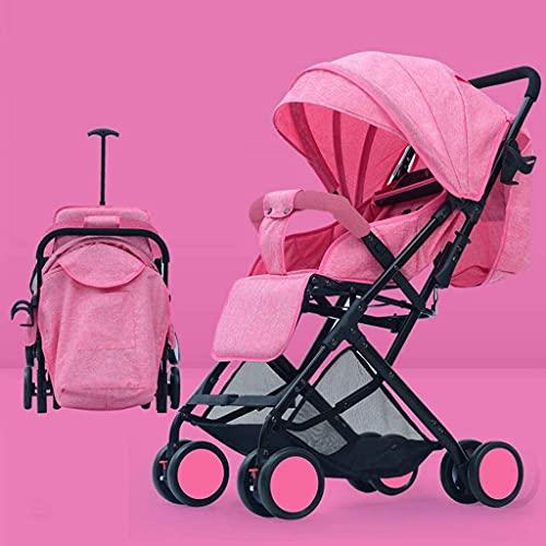 VIVOCC Cochecito de bebé para recién nacidos y niños pequeños, convertible reclinable, plegable y portátil, cochecito de paseo antigolpes con marco de aluminio, arnés de 5 puntos (color: rosa)