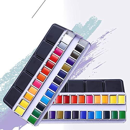 Un juego de pintura de acuarela con 24 colores brillantes, material de arte profesional, en una caja de metal, con un anillo de metal, para principiantes y artistas profesionales.