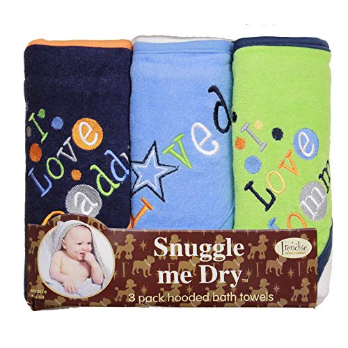Frenchie Mini Couture, Hooded Baby Bath Towel Set, 80% Cotton/20% Polyester, I Love Mommy and Daddy, Boy, Pack of 3
