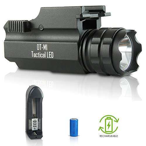 DefendTek Rechargeable Gun Flashlight Tactical LED Rail Mounted DTM1 300 Lumens Fits Glock Taurus Ruger Springfield H&K S&W Picatinny