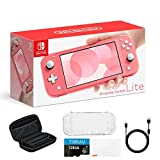 """Newest Nintendo Switch Lite Game Console, 5.5"""" LCD Touchscreen Display, Built-in Plus Control Pad, Coral, Bundled with TSBEAU 128GB Micro SD Card & 8 in 1 Carrying Case Cover Protector Accessories"""