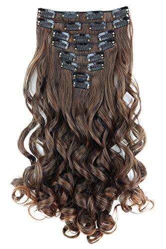 PRETTYSHOP XXL 45cm 8 Teile Set CLIP IN EXTENSIONS Haarverlängerung Haarteil Voluminös Gewellt Braun Mix CES20-1