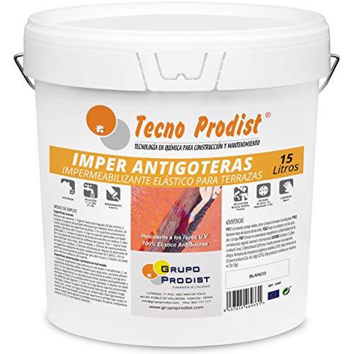 IMPER ANTIGOTERAS de Tecno Prodist - 15 Litros (BLANCO) Pintura Impermeabilizante elástica para Terrazas (A Rodillo o brocha, disponible en color rojo o blanco)