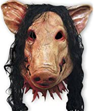 Unbranded Halloween Creepy Animal Prop Latex Party Unisex Scary Pig Head Mask+Hair