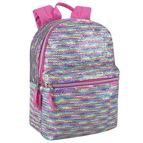 Reverse Sequin Glitter Backpacks - Color Changing Rainbow Magic Backpacks (Pastel Rainbow)