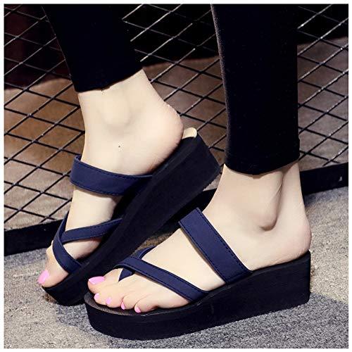 ZHIZI Flip Flops Zehenring Runde Zehe High Heel Hausschuhe Offene Toe Kreuz Sommer Flache Hausschuhe (Color : Blue eu, Size : 41)
