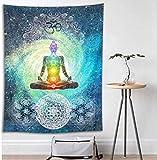 LB 100x150cm Tapiz de Pared Yoga Colgar de Pared Meditación en el espacio Tela Pared Psicodélico bohemio Tapices para Sala Dormitorio Decoración Pared