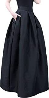 Chartou Women's Solid Back-Stretch High Waist A-line Full/Ankle Length Big-Hem Swing Pleated Maxi Skirt
