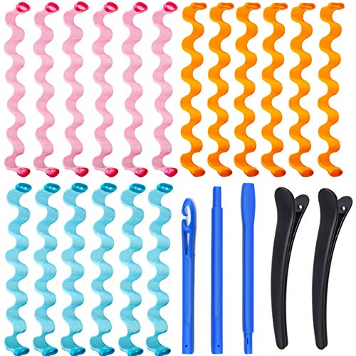 Kit de Rulos de Peinado, KECRULV 18 Piezas Rizadores de Pelo en Espiral Mágicos Sin Calor con 3 Ganchos de Peinado y 2 Pinzas de Pelo, para Mujer Niña para Cabello Largo(50cm/19.6 Pulgadas)