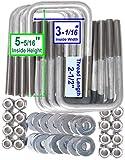 """(8) Bulloni a U quadrati in acciaio inox per barche rimorchio bullone U 1/2"""" D x 3 1/16"""" W x 5 5/16"""" L"""