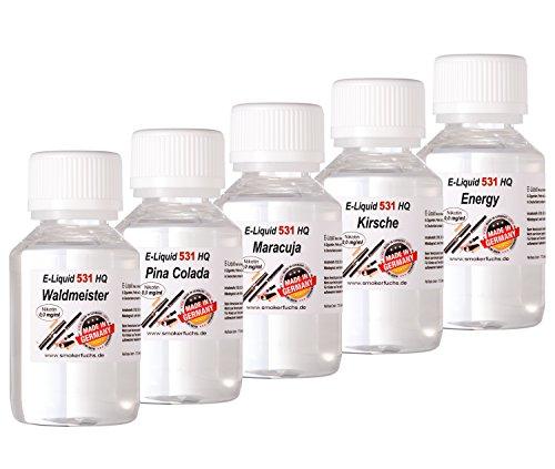 SmokerFuchs 5 x 100 ml E Liquids Waldmeister, Pina Colada, Maracuja, Kirsche, Energy - shisha E-liquid für E Zigaretten Nikotin-Frei