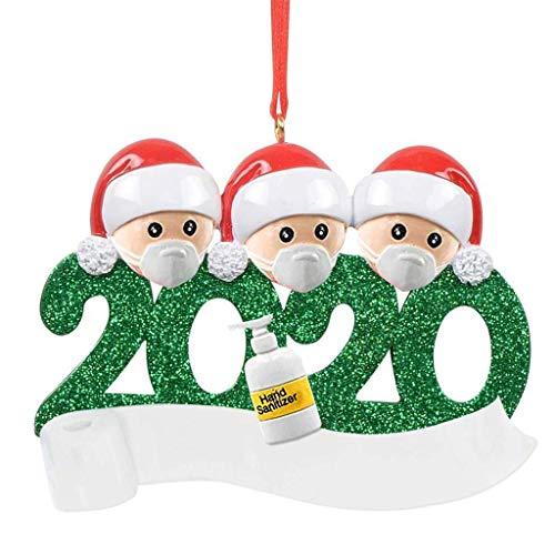 2020 Cuarentena Decoración del árbol de Navidad Regalo Adorno Colgante Personalizado Distancia Social Papá Noel con máscara Rollo de Papel higiénico