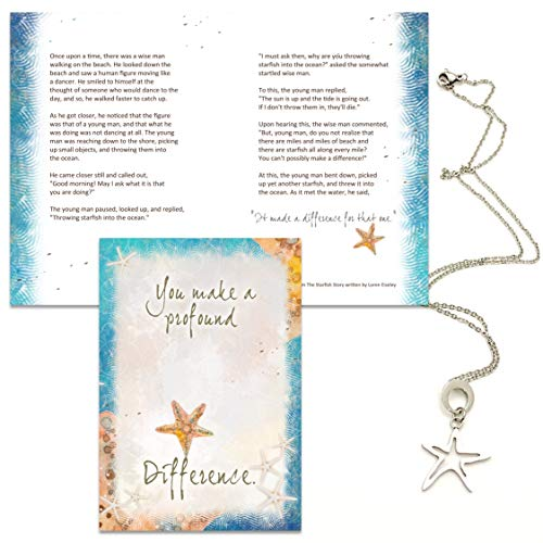 Smiling Wisdom - Artsy Starfish Necklace Appreciation Gift Set - You Make a Profound Difference...