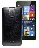 Original Favory ® Etui Tasche für / Microsoft Lumia 435 - Microsoft Lumia 532 Dual Sim / Leder Etui Handytasche Ledertasche Schutzhülle Hülle Hülle *Lasche mit Rückzugfunktion* In schwarz