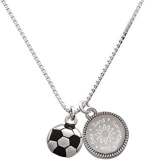 Soccer ball Sun Sea Sand Serenity Engraved Necklace