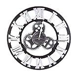 時計 ギアの形 友達のギフト 壁掛け時計 おしゃれ 北欧 木製 ウォールクロック アンティーク レトロスタイル 静音 飾り サイドオープン 見やすい ギアの型 防湿防虫