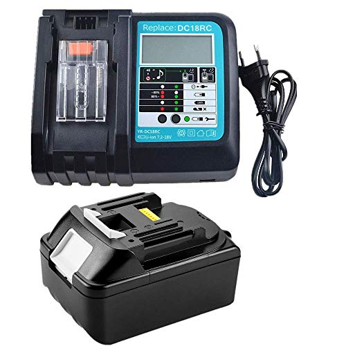 Ersatz DC18RC DC18RA Schnell-Ladegerät(LED) mit Akku 18V 5.0Ah BL1850 für Makita Radio 18Volt DMR108 DMR110 DMR112