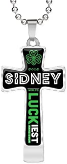 FamilyGift Funny St Patricks Day Accessories - Sidney World's Lucky Luckiest Name Ever - Ideas Gift for Men, Husband, Dad - Shamrock Cross Pendant Chain Necklace