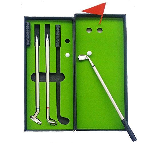 Golf Club Pen Set - Mini Desktop Putting Green Office Desk Games - Unique Novelty Gadgets Funny Gag Gifts for Adults Men Dad