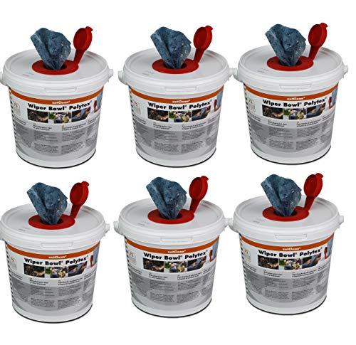 6x ZVG Wiper Bowl Polytex feuchte Reinigungstücher im Spender-Eimer - Polypropylen Waschtücher - Tücher 25 x 25 cm Werkstatt Gewerbe Auto KFZ Motorrad und Haushalt